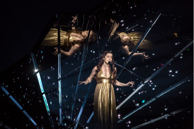 The UK's Lucie Jones performs at Eurovision 2017