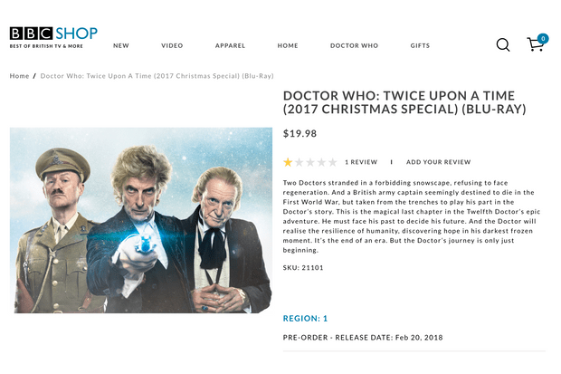 Doctor Who Twice Upon A Time listing