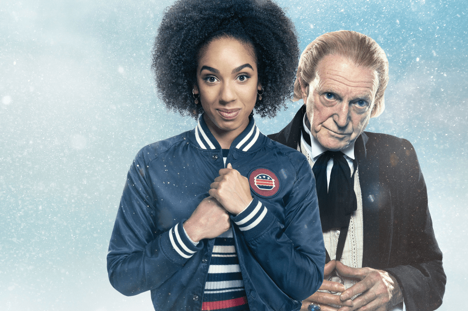 Pearl Mackie as Bill Potts and David Bradley as the First Doctor in Doctor Who