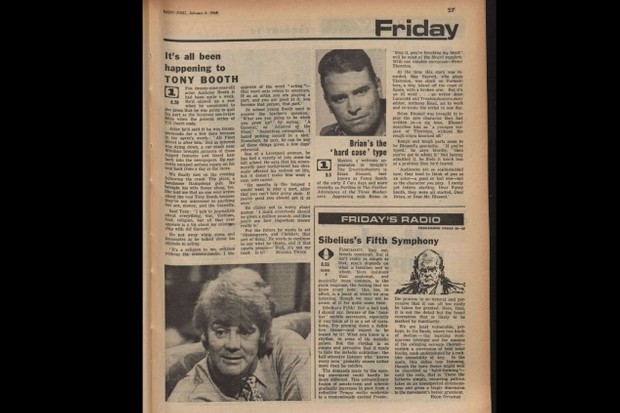 """Tony Booth speaking to Radio Times in 1968: Acting """"I disapprove of the word 'acting' – that word only refers to amateurs. If as an artist you are playing a part, and you are good at it, you become that person, that part."""""""