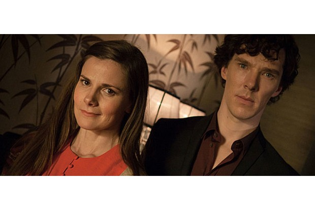 Louise Brealey with Benedict Cumberbatch in Sherlock