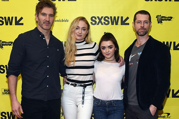 Game of Thrones showrunners David Benioff and DB Weiss with actors Sophie Turner and Maisie Williams