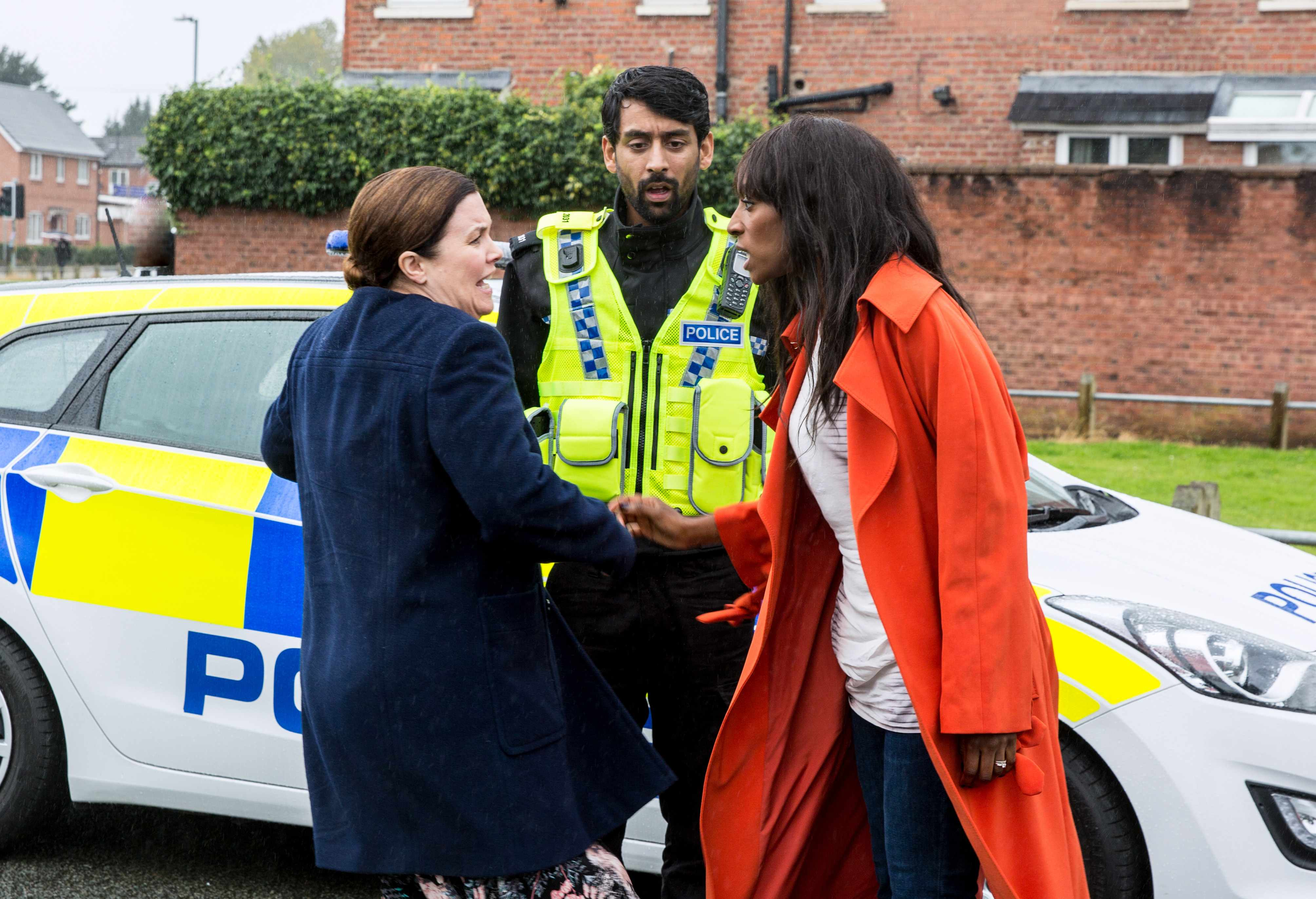 FROM ITV STRICT EMBARGO Print media - No Use Before Tuesday 31st October 2017Online Media -  No Use Before 0700hrs Tuesday 31st October 2017Coronation Street - Ep 9296Wednesday 8th November 2017 - 2nd EpThe police pull Angie Appleton [VICTORIA EKANOYE], over and insist she takes a breath test. As Dev and Mary Taylor [PATTI CLARE] arrive on the scene, Angie realises with disgust that Mary reported her. Picture contact - david.crook@itv.comPhotographer - Mark BruceThis photograph is (C) ITV Plc and can only be reproduced for editorial purposes directly in connection with the programme or event mentioned above, or ITV plc. Once made available by ITV plc Picture Desk, this photograph can be reproduced once only up until the transmission [TX] date and no reproduction fee will be charged. Any subsequent usage may incur a fee. This photograph must not be manipulated [excluding basic cropping] in a manner which alters the visual appearance of the person photographed deemed detrimental or inappropriate by ITV plc Picture Desk. This photograph must not be syndicated to any other company, publication or website, or permanently archived, without the express written permission of ITV Plc Picture Desk. Full Terms and conditions are available on the website www.itvpictures.com