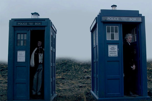 A recreation of the original Tardis design alongside Peter Capaldi's in Twice Upon a Time (BBC, HF)