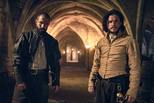 Kit Harington and Tom Cullen in Gunpowder (BBC, HF)