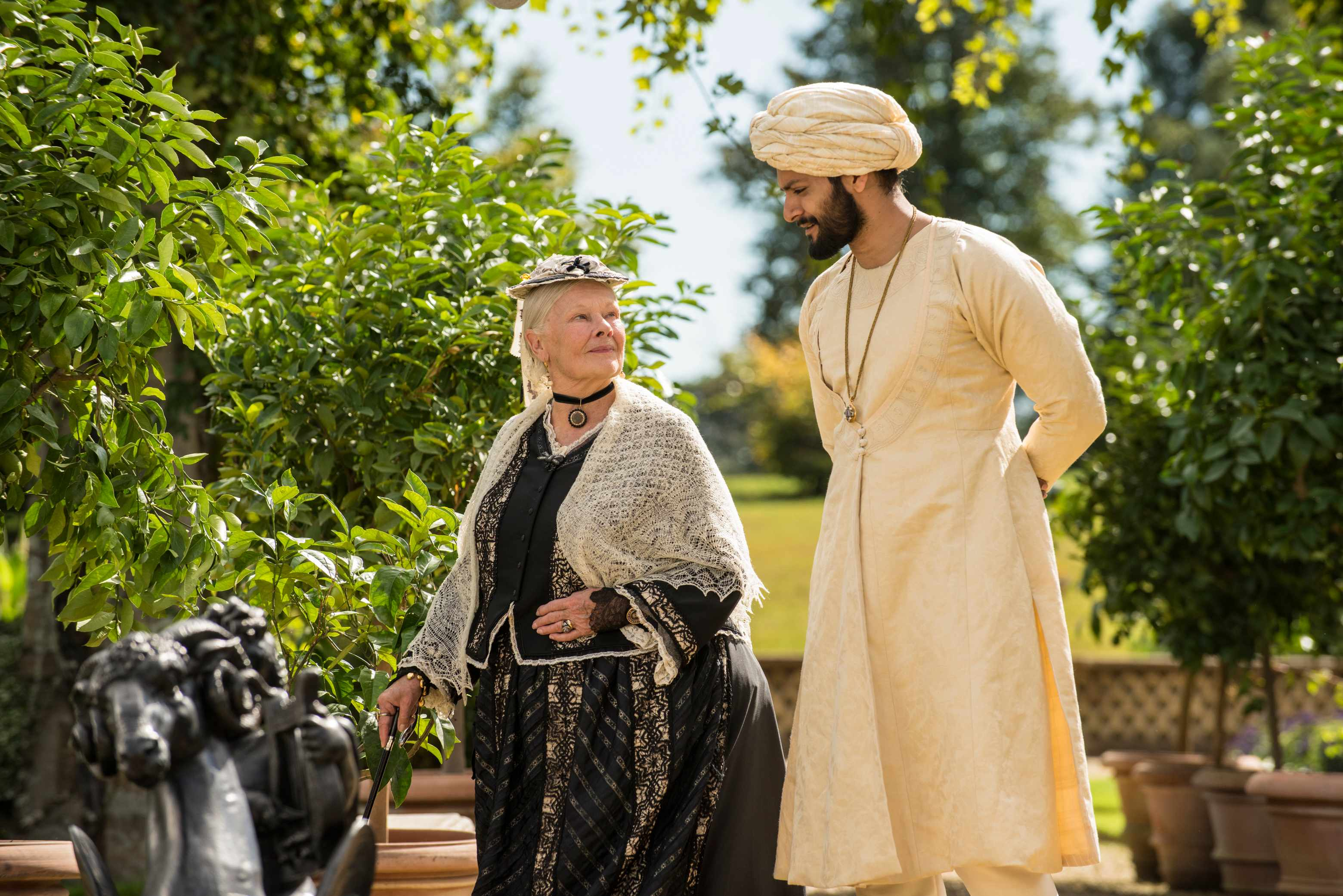 Judi Dench as Queen Victoria and Ali Fazal as Abdul Karim in Victoria & Abdul