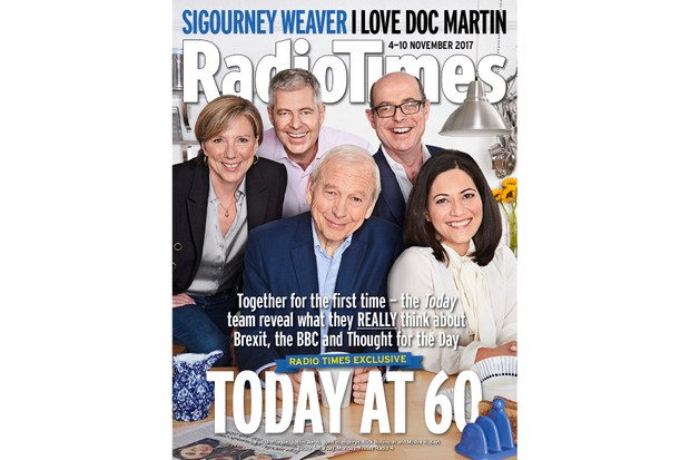 Sarah Montague, Justin Webb, John Humphrys, Nick Robinson and Mishal Husain on the cover of Radio Times to celebrate Today's 60th anniversary