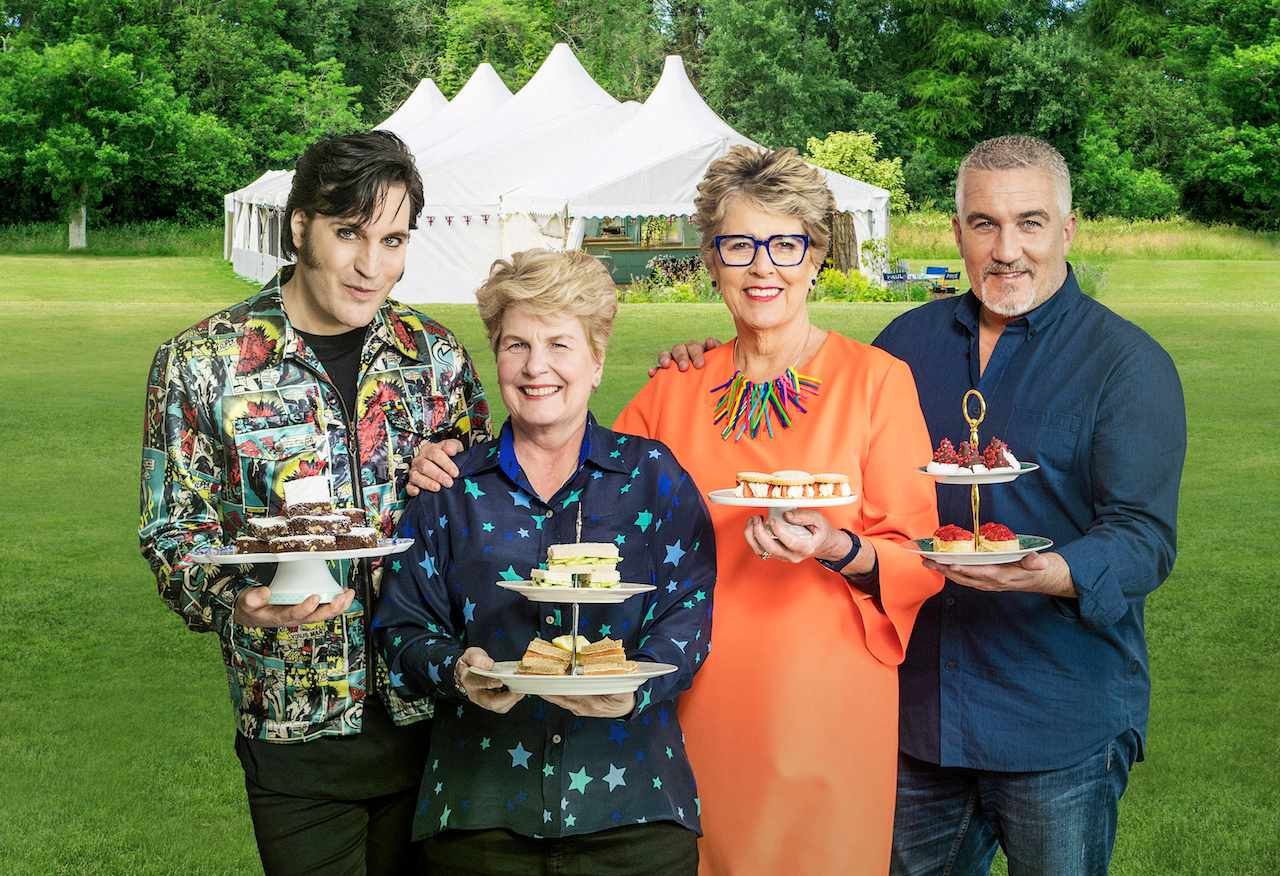 Noel Fielding, Sandi Toksvig, Paul Hollywood and Prue Leith in front of the famous Bake Off tent (Channel 4)