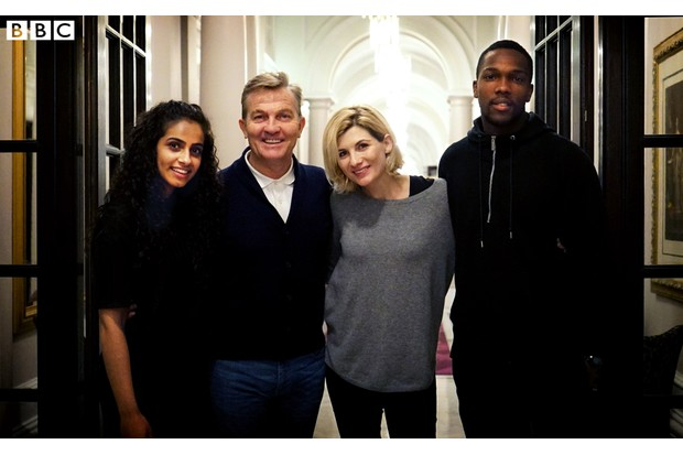 Doctor Who stars Mandip Gill, Bradley Walsh, Jodie Whittaker and Tosin Cole (BBC, BD)