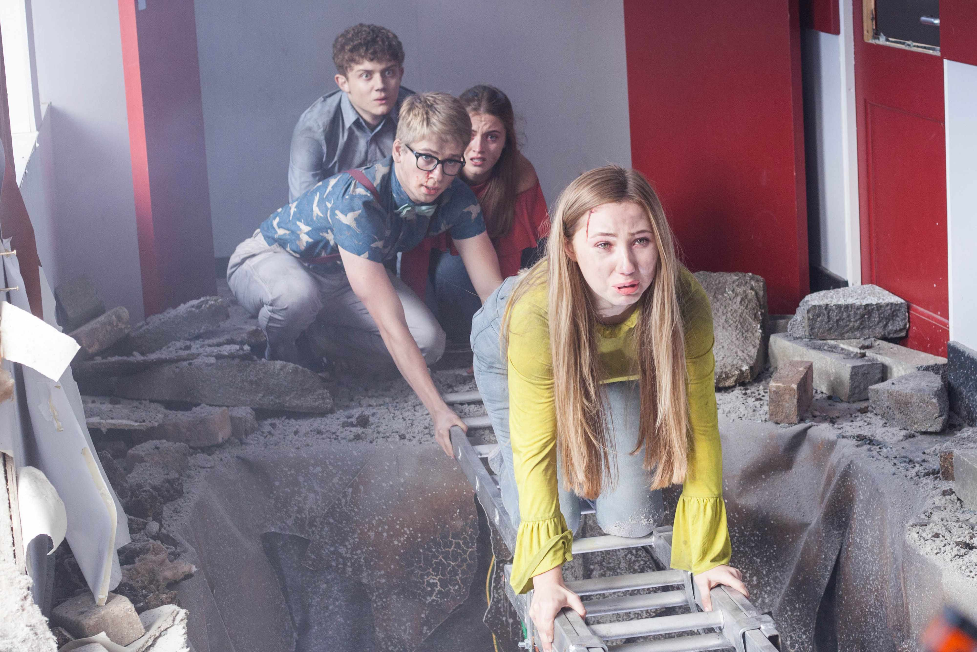 HOLLYOAKS STUNT EMBARGOED UNTIL 24 OCTOBER C4 JH