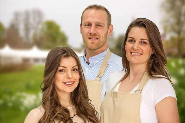 Bake Off 2017 finalists Kate, Steven and Sophie (Channel 4, JG)