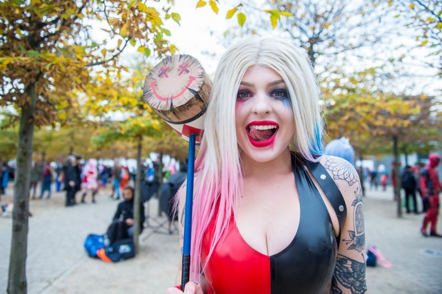 A cosplayer in character as a latex Harley Quinn during MCM London Comic Con 2017 (Getty, JG)