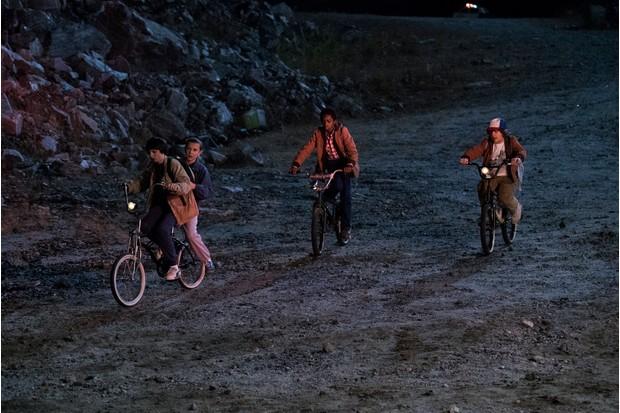 The Stranger Things kids cycling through Bellwood Quarry in Georgia Netflix, JG)