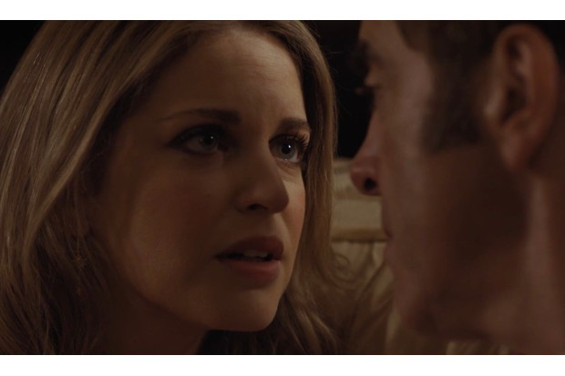 Sarah and Adam kiss in Cold Feet