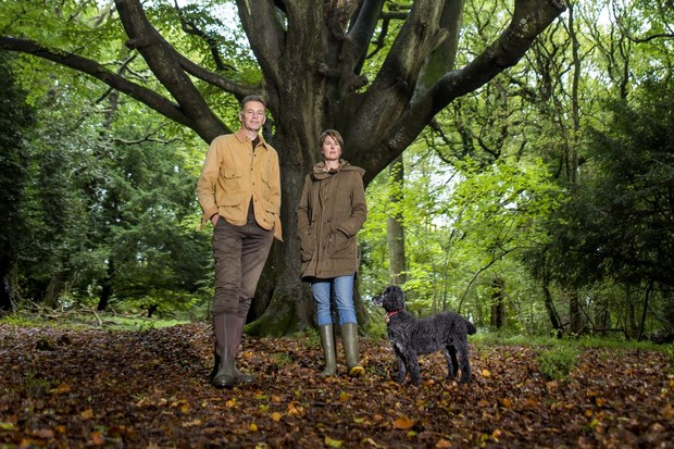 Chris Packham, partner Charlotte Corney and his dog