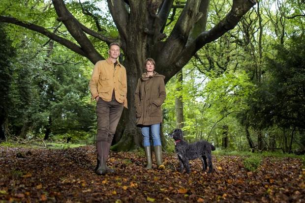 Chris Packham, partner Charlotte Corney and his dog