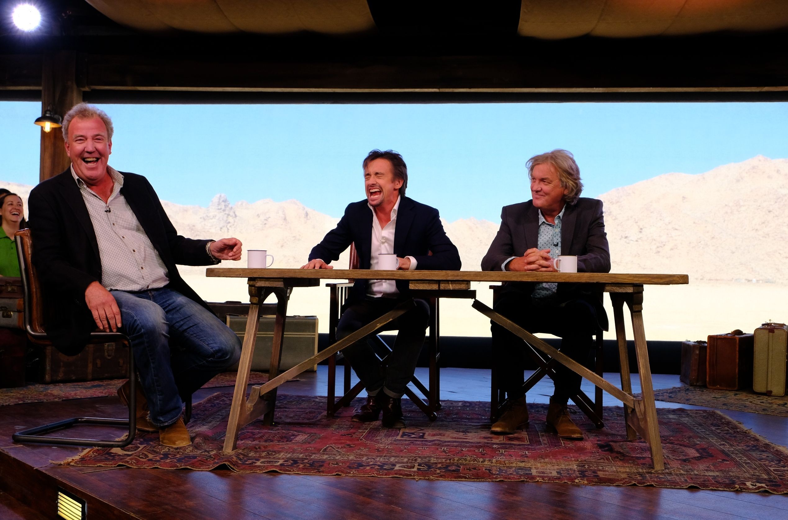 Jeremy Clarkson, Richard Hammond and James May in The Grand Tour studio tent (Amazon, JG)