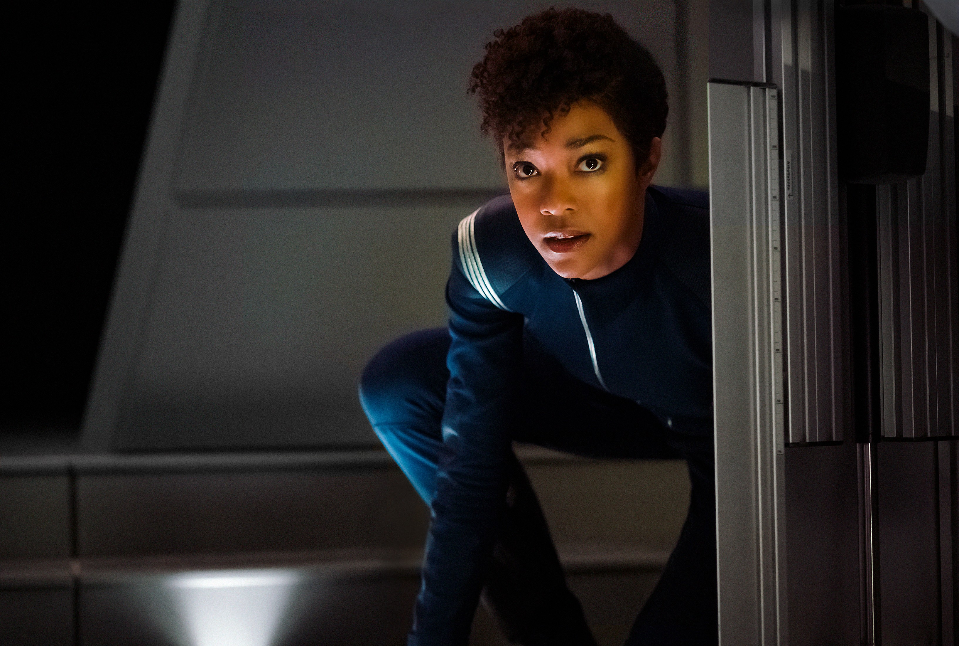 Pictured: Sonequa Martin-Green as First Officer Michael Burnham. STAR TREK: DISCOVERY coming to CBS All Access.  Photo Cr: Jan Thijs  © 2017 CBS Interactive. All Rights Reserved.