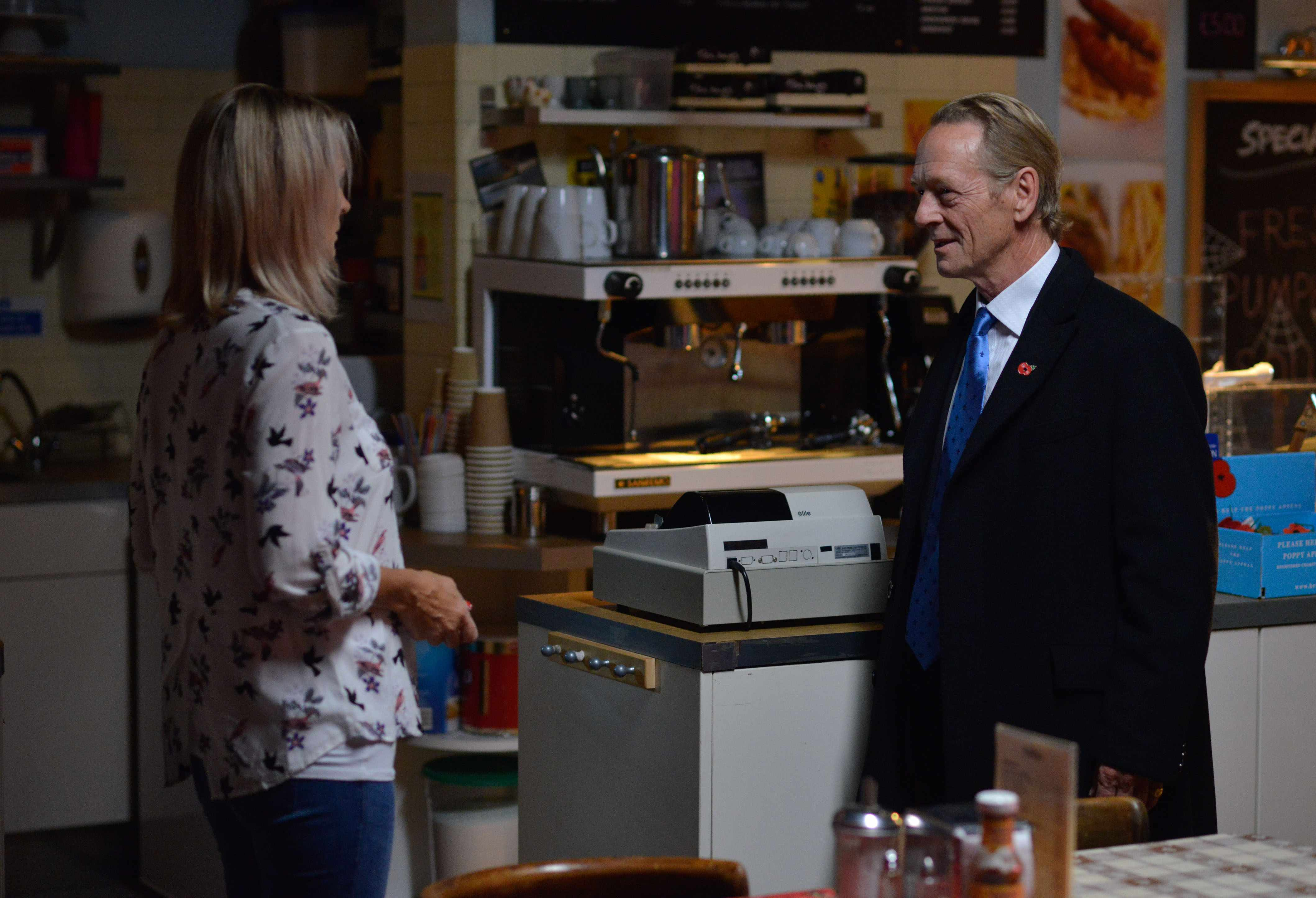 WARNING: Embargoed for publication until 00:00:01 on 31/10/2017 - Programme Name: EastEnders - October-December 2017 - TX: 06/11/2017 - Episode: EastEnders - October-December 2017 - 5593 (No. 5593) - Picture Shows: *STRICTLY NOT FOR PUBLICATION UNTIL 00:01HRS TUESDAY 31st OCTOBER 2017*  Kathy tells Willmott-Brown to get out but he says he wants to talk Kathy Beale (GILLIAN TAYLFORTH), James Willmott-Brown (WILLIAM BOYDE) - (C) BBC - Photographer: Kieron McCarron