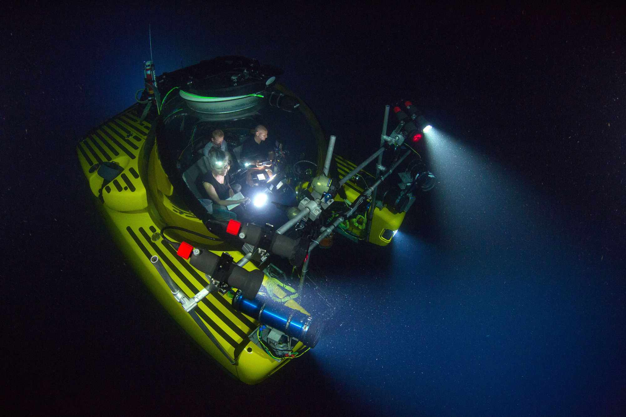 The three-man submersible 'Nadir' used in Blue Planet II: the team spent a thousand hours in subs across the world (BBC, photographer Luis Lamar, JG)