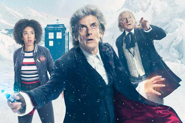 pearl mackie peter capaldi and david bradley in the doctor who christmas special