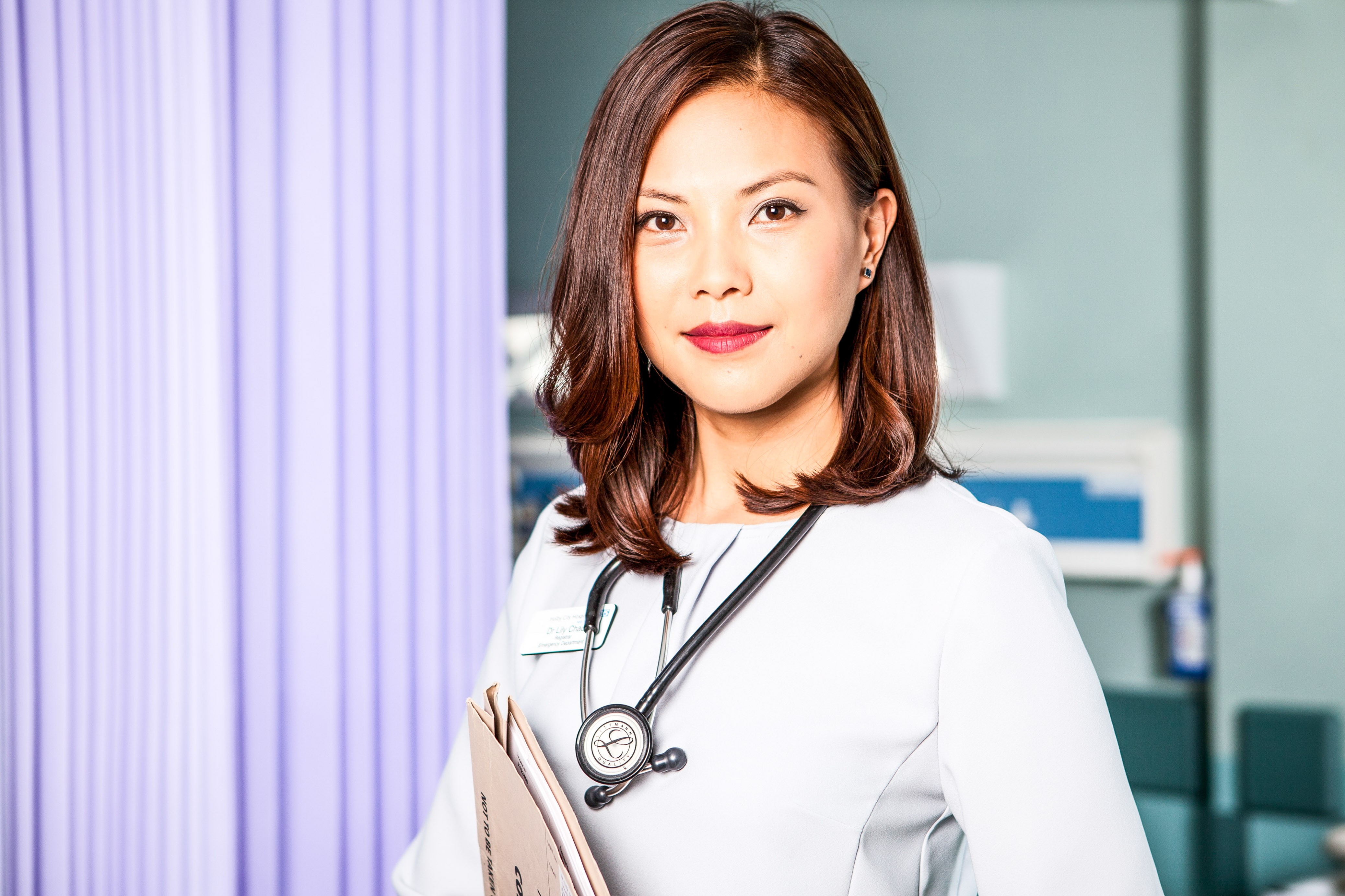 Programme Name: Casualty - Portraits - TX: n/a - Episode: Casualty - Portraits (No. n/a) - Picture Shows:  Dr Lily Chao (CRYSTAL YU) - (C) BBC - Photographer: Emilie Sandy