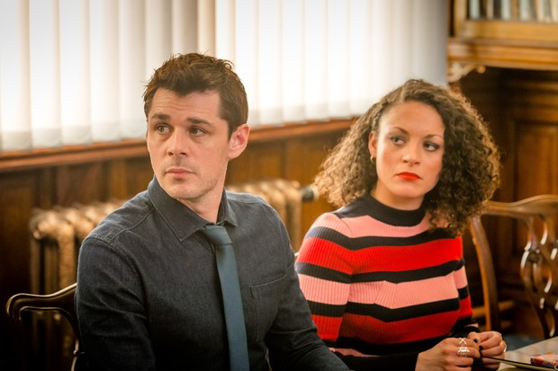Programme Name: Love, Lies & Records - TX: n/a - Episode: n/a (No. 1) - Picture Shows: L-R Rick (KENNY DOUGHTY), Anna (ROCHENDA SANDALL) - (C) Rollem Productions - Photographer: Ben Blackall