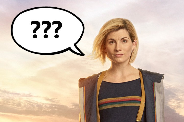 Jodie Whittaker as the Doctor in Doctor Who with a speech bubble