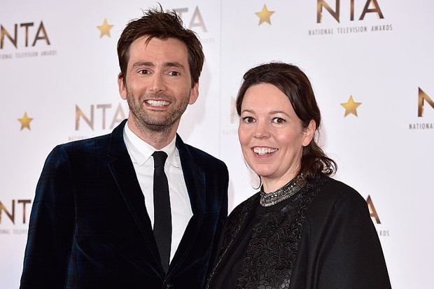 LONDON, ENGLAND - JANUARY 21:  David Tennant and Olivia Colman pose in the winners room at the National Television Awards at 02 Arena on January 21, 2015 in London, England.  (Photo by Karwai Tang/WireImage, BA)