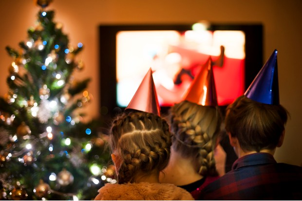 children watching tv on christmas eve - Christmas Tv