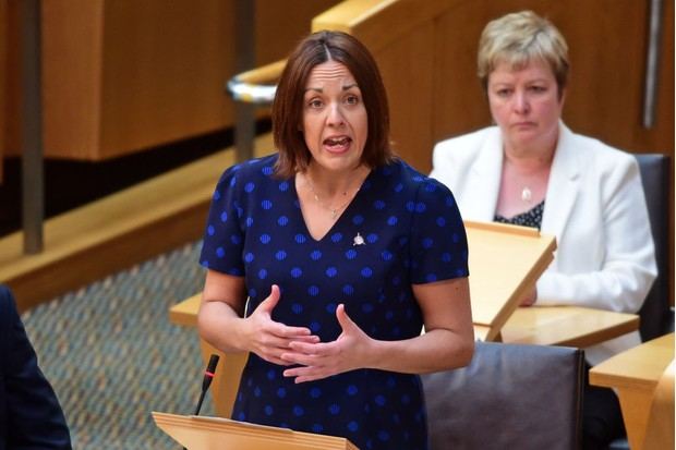 EDINBURGH, SCOTLAND - MAY 25: Scottish Labour leader Kezia Dugdale speaking during First Minister's Questions in the Scottish Parliament, on May 25, 2017 in Edinburgh, Scotland. (Photo by Ken Jack - Corbis/Corbis via Getty Images, BA)