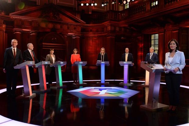Mishal Husain hosts the BBC Leader's Debate (Getty, EH)