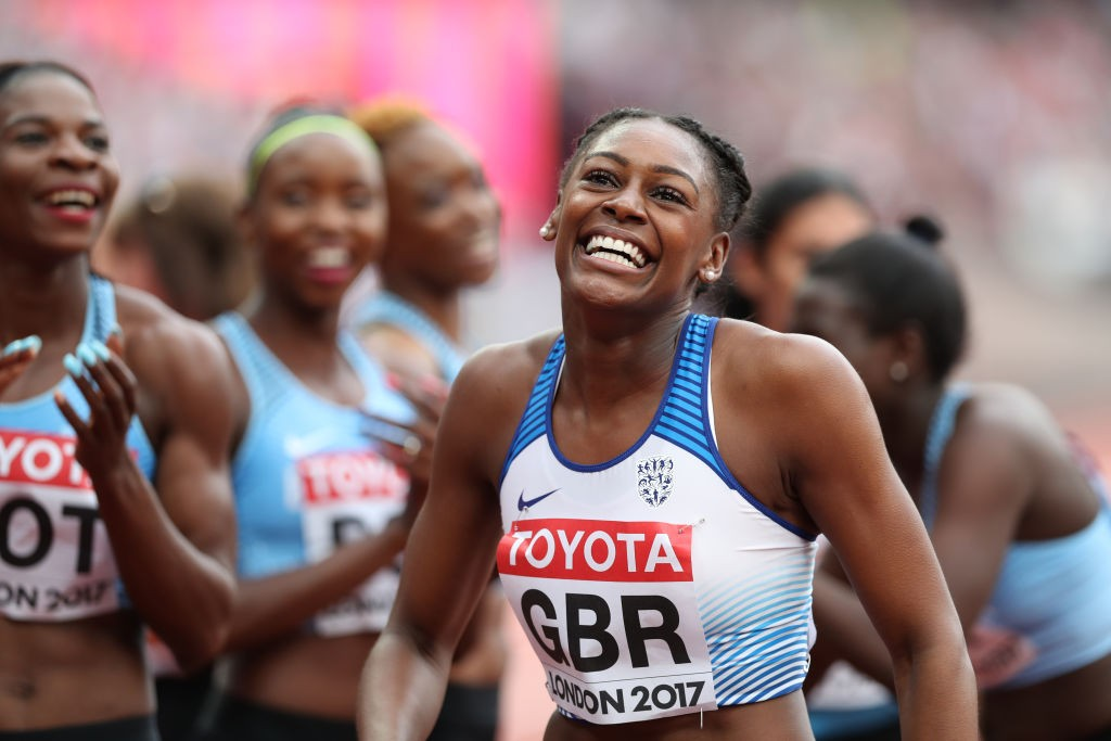 LONDON, ENGLAND - AUGUST 12: Perri Shakes Drayton of Great Britain competes in the Women's 4x400m Relay heats during day nine of the 16th IAAF World Athletics Championships London 2017 at The London Stadium on August 12, 2017 in London, United Kingdom. (Photo by Ian MacNicol/Getty Images, BA)