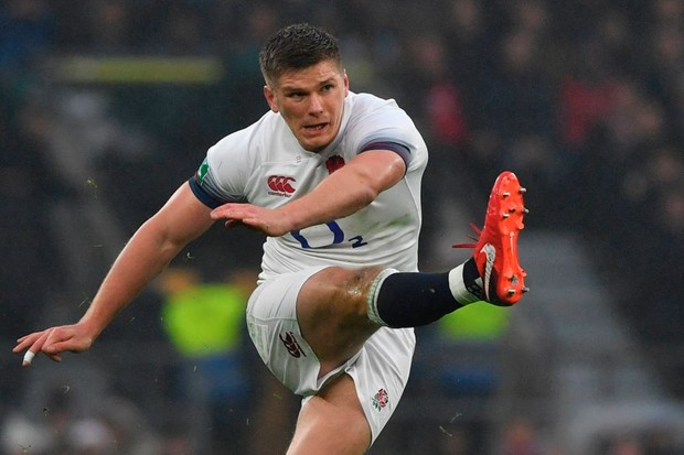 England's centre Owen Farrell kicks the ball upfield during the international rugby union test match between England and Australia at Twickenham stadium in south-west London on November 18, 2017. / AFP PHOTO / Ben STANSALL        (Photo credit should read BEN STANSALL/AFP/Getty Images, BA)