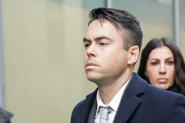 MANCHESTER, ENGLAND - NOVEMBER 28:  Television actor Bruno Langley arrives at Manchester Magistrates Court where he is facing sexual assault charges on November 28, 2017 in Manchester, England. Langley, who appeared in the soap opera Coronation Street, is charged  with sexually assaulting two women at a Manchester music venue.  (Photo by Christopher Furlong/Getty Images)