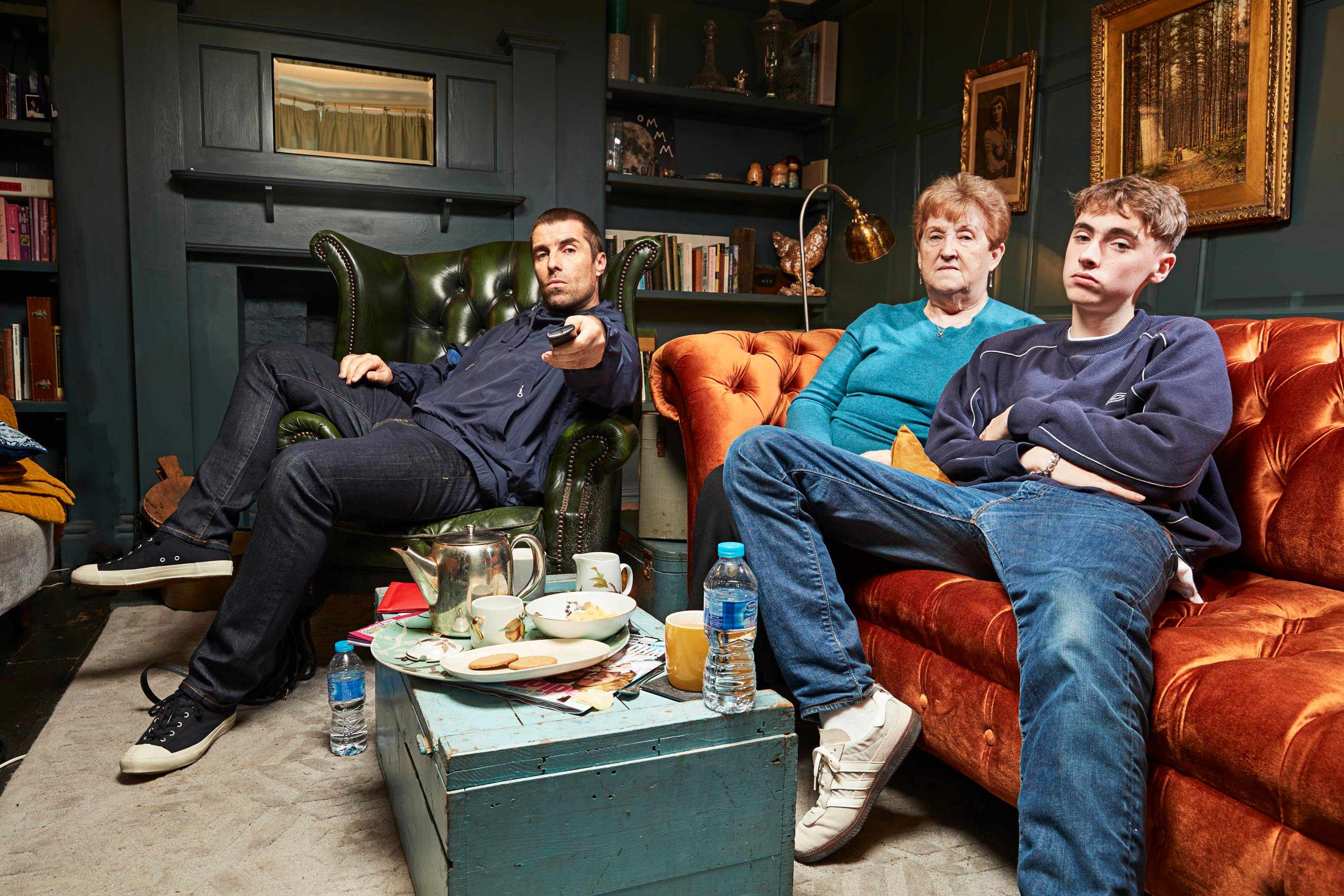 Liam Gallagher, mum Peggy and son Gene on Celebrity Gogglebox in aid of Stand Up To Cancer (Channel 4, JG)