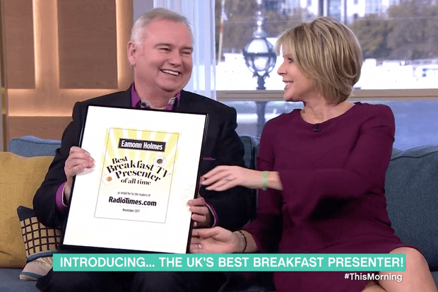 Eamonn Holmes accepts RadioTimes.com Best Breakfast TV Presenter award live on This Morning