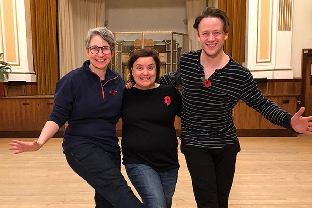 Susan Calman in training with wife Lee and partner Kevin Clifton