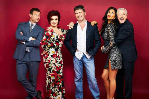The X FactorPictured: Dermot O'Leary, Sharon Osbourne, Simon Cowell, Nicole Scherzinger and Louis Walsh. (ITV, TL)