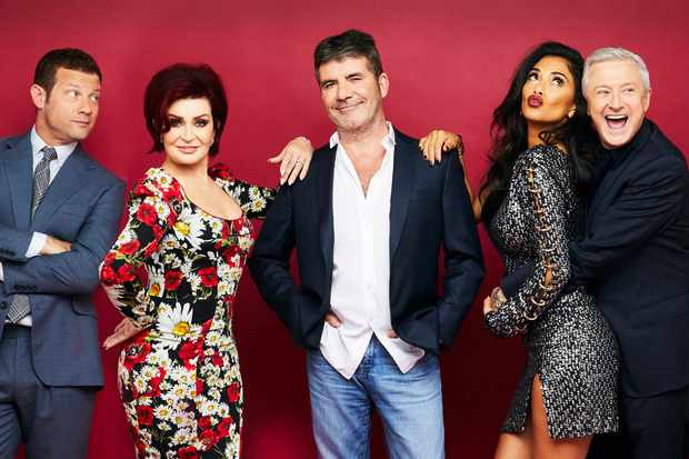The X Factor Pictured: Dermot O'Leary, Sharon Osbourne, Simon Cowell, Nicole Scherzinger and Louis Walsh. (ITV, TL)