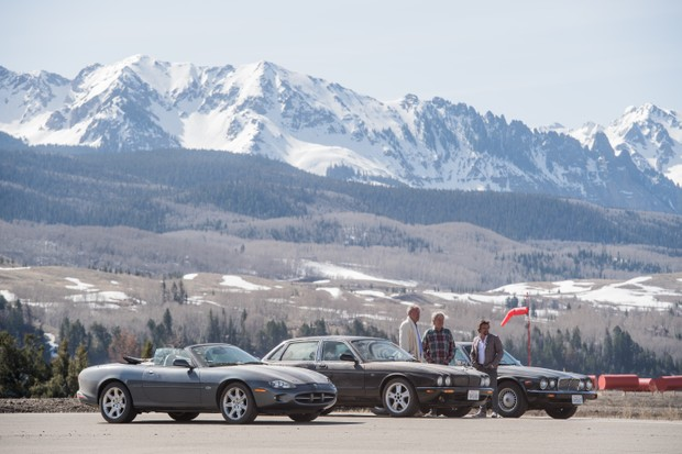 Clarkson, Hammond and May drive three Jaguars through Colorado in The Grand Tour series two (Amazon, JG)