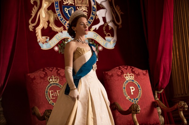 The Crown - Elizabeth - Elizabeth at Prince Philip's investiture (Netflix, BA)