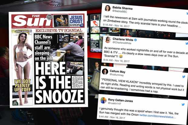 BBC News staff hit back at Sun story about 'sleeping on the job'
