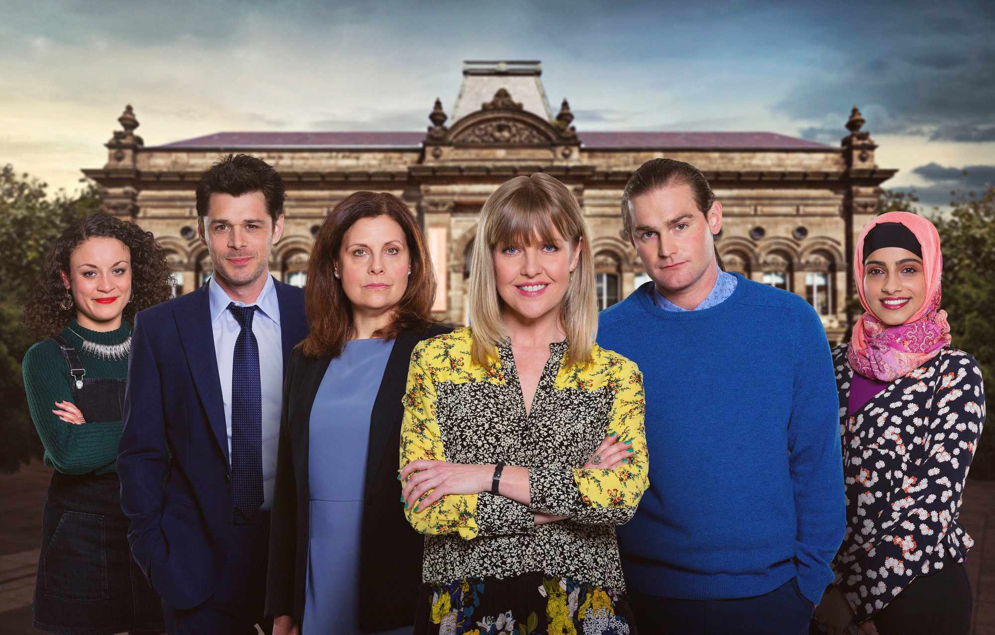 Programme Name: Love, Lies & Records - TX: n/a - Episode: n/a (No. 1) - Picture Shows: (L-R) Anna (ROCHENDA SANDALL), Rick (KENNY DOUGHTY), Judy (REBECCA FRONT), Kate (ASHLEY JENSEN), Jamie/James (MARK STANLEY), Talia (MANDIP GILL) - (C) Rollem Productions - Photographer: Ben Blackall
