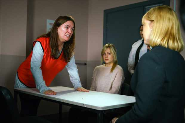 FROM ITV   STRICT EMBARGO  Print media - No Use Before Tuesday 28th November 2017 Online Media -  No Use Before Tuesday 28th November 2017  Coronation Street - Ep 9317  Monday 4th December 20017 - 2nd Ep  Tim Metcalfe [JOE DUTTINE] and Sarah Platt [TINA O'BRIEN] visit Anna Windass [DEBBIE RUSH] in prison. Anna's utterly devastated to hear about Gary. Desperate to see her daughter, Anna tries to push past the prison guard. The guard grabs Anna and starts to drag her out of the room. Tim and Sarah watch in horror.  Picture contact - david.crook@itv.com  Photographer - Mark Bruce  This photograph is (C) ITV Plc and can only be reproduced for editorial purposes directly in connection with the programme or event mentioned above, or ITV plc. Once made available by ITV plc Picture Desk, this photograph can be reproduced once only up until the transmission [TX] date and no reproduction fee will be charged. Any subsequent usage may incur a fee. This photograph must not be manipulated [excluding basic cropping] in a manner which alters the visual appearance of the person photographed deemed detrimental or inappropriate by ITV plc Picture Desk. This photograph must not be syndicated to any other company, publication or website, or permanently archived, without the express written permission of ITV Plc Picture Desk. Full Terms and conditions are available on the website www.itvpictures.com