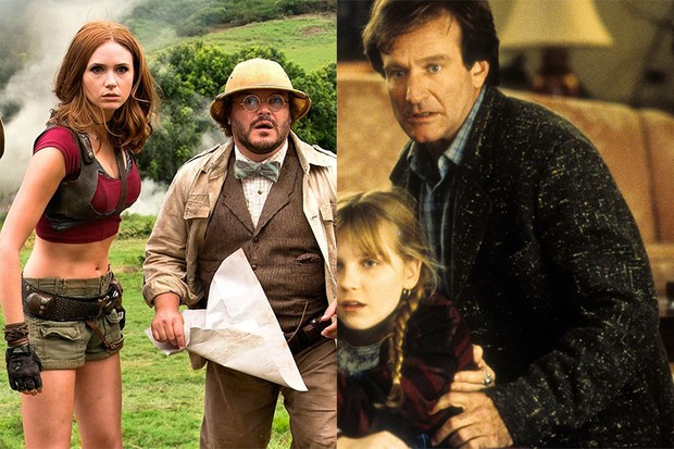 Karen Gillan and Jack Black in Jumanji: Welcome to the Jungle; Robin Williams and Kirsten Dunst in the original Jumanji (Sony, Getty, HF)