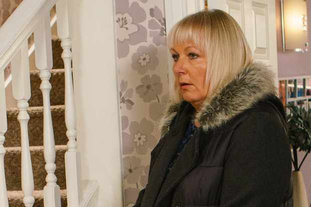 FROM ITV   STRICT EMBARGO  Print media - No Use Before Tuesday 2nd January 2018 Online Media -  No Use Before 0700hrs Tuesday 2nd January 2018  Coronation Street - Ep 9352  Friday 12th January 2018 - 2nd Ep  Alone at No.11, Eileen Phelan [SUE CLEAVER] nervously opens Phelan's tool box, will her worst fears be confirmed?   Picture contact - david.crook@itv.com  Photographer - Mark Bruce  This photograph is (C) ITV Plc and can only be reproduced for editorial purposes directly in connection with the programme or event mentioned above, or ITV plc. Once made available by ITV plc Picture Desk, this photograph can be reproduced once only up until the transmission [TX] date and no reproduction fee will be charged. Any subsequent usage may incur a fee. This photograph must not be manipulated [excluding basic cropping] in a manner which alters the visual appearance of the person photographed deemed detrimental or inappropriate by ITV plc Picture Desk. This photograph must not be syndicated to any other company, publication or website, or permanently archived, without the express written permission of ITV Plc Picture Desk. Full Terms and conditions are available on the website www.itvpictures.com