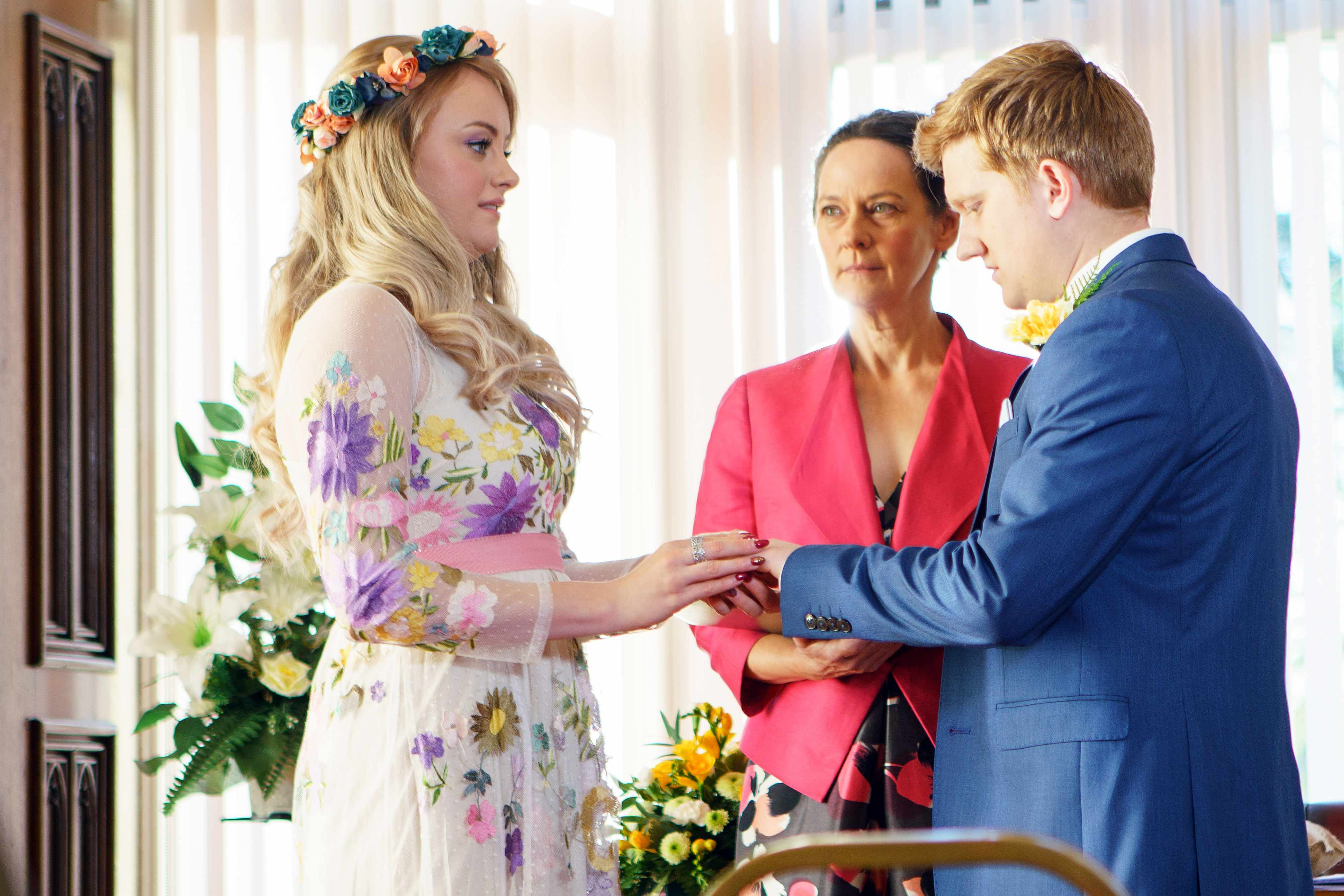 FROM ITV   STRICT EMBARGO  Print media - No Use Before Tuesday 2nd January 2018 Online Media -  No Use Before 0700hrs Tuesday 2nd January 2018  Coronation Street - Ep 9351  Friday 12th January 2018 - 1st Ep  As the wedding guests gather at the register office will Daniel make his move and can Sinead Tinker [KATIE McGLYNN] ignore the doubts in her heart and say I do to Chesney Brown [SAM ASTON]?  Picture contact - david.crook@itv.com  Photographer - Mark Bruce  This photograph is (C) ITV Plc and can only be reproduced for editorial purposes directly in connection with the programme or event mentioned above, or ITV plc. Once made available by ITV plc Picture Desk, this photograph can be reproduced once only up until the transmission [TX] date and no reproduction fee will be charged. Any subsequent usage may incur a fee. This photograph must not be manipulated [excluding basic cropping] in a manner which alters the visual appearance of the person photographed deemed detrimental or inappropriate by ITV plc Picture Desk. This photograph must not be syndicated to any other company, publication or website, or permanently archived, without the express written permission of ITV Plc Picture Desk. Full Terms and conditions are available on the website www.itvpictures.com