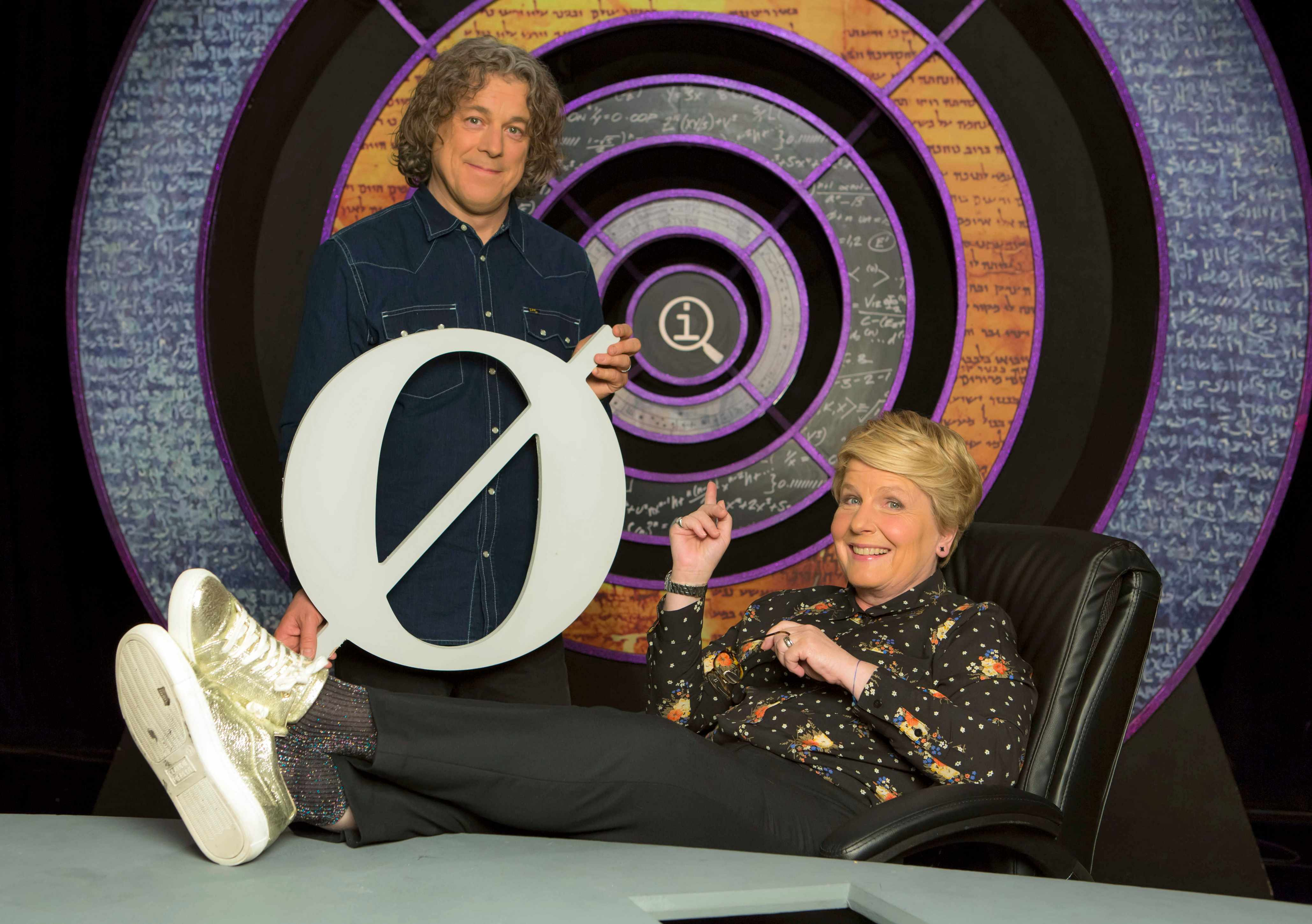 Programme Name: QI - TX: n/a - Episode: Generics (No. n/a) - Picture Shows:  Sandi Toksvig, Alan Davies - (C) Fremantle Media/Talkback - Photographer: Brian Ritchie TL