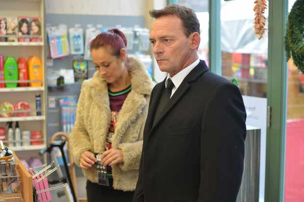 WARNING: Embargoed for publication until 00:00:01 on 07/12/2017 - Programme Name: EastEnders - October-December 2017 - TX: 18/12/2017 - Episode: EastEnders - October-December 2017 - 5617 (No. 5617) - Picture Shows: *STRICTLY NOT FOR PUBLICATION UNTIL 00:01HRS THURSDAY 7th DECEMBER 2017* Tina is looking at pregnancy tests when Honey and Billy come in. Tina Carter (LUISA BRADSHAW WHITE), Billy Mitchell (PERRY FENWICK) - (C) BBC - Photographer: Kieron McCarron
